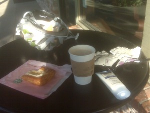 Danish, coffee, and sunscreen to keep me going.